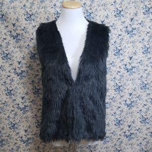 Faux fur charcoal gray vest  Soft! Furry Fuzzy